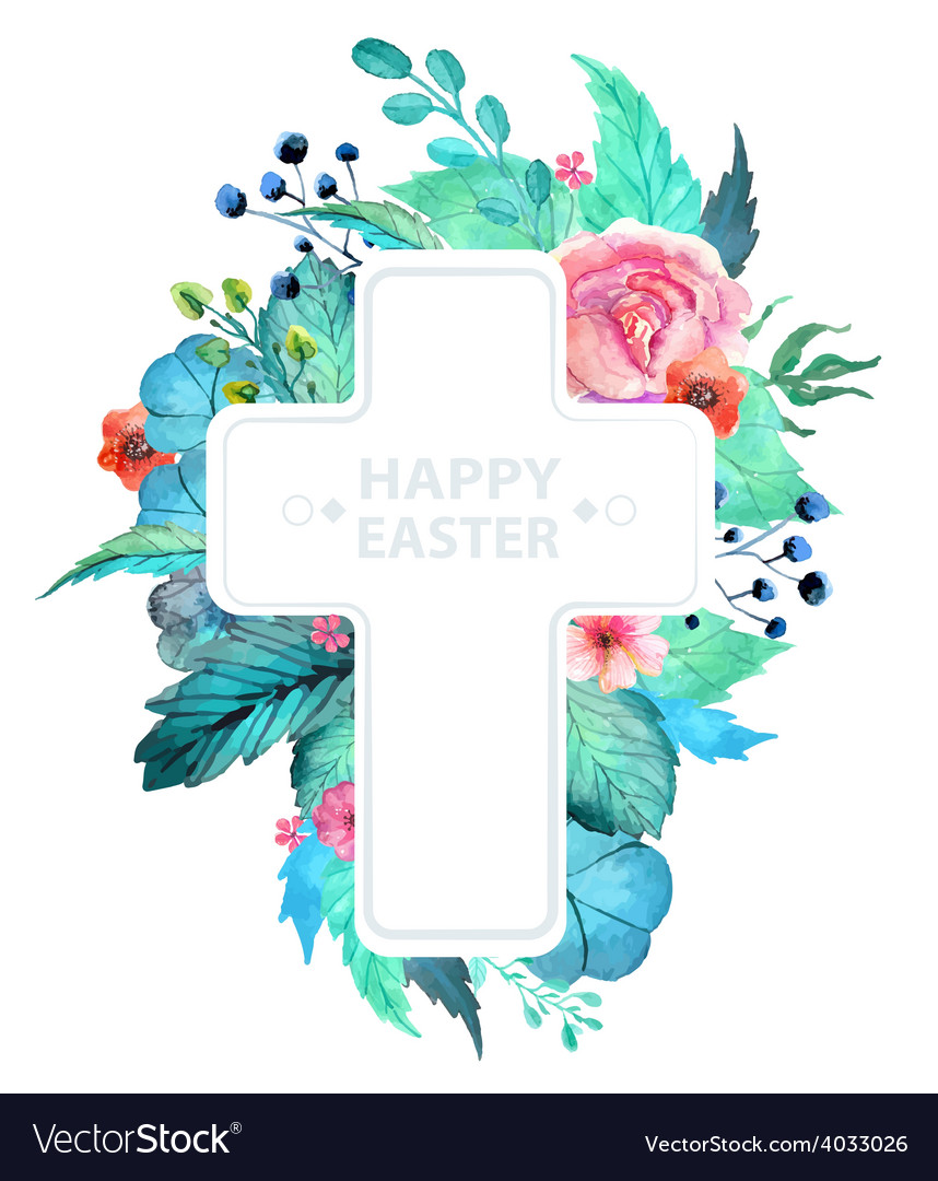 Easter watercolor natural with cross sticker