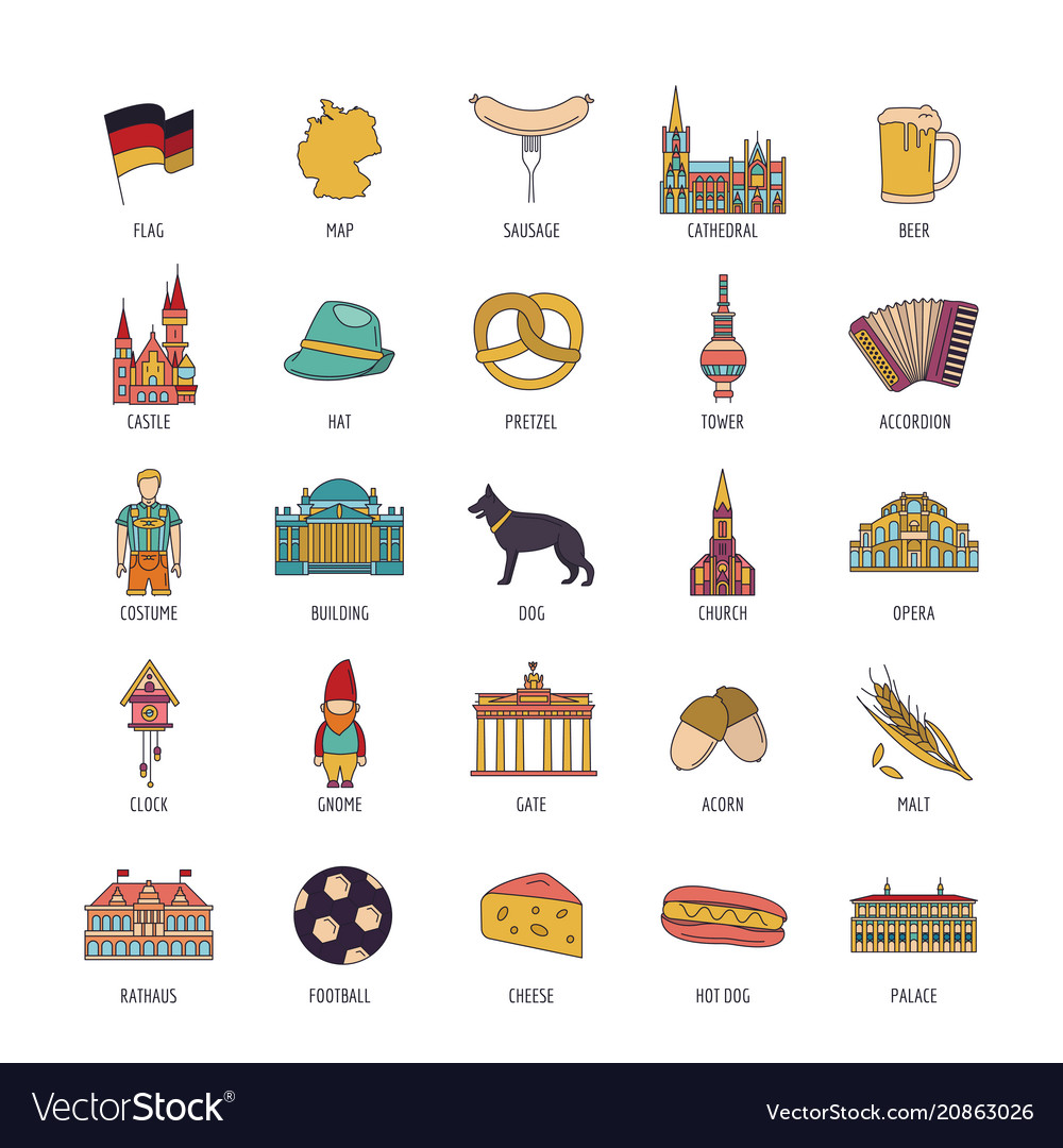 Germany icons set cartoon style vector image