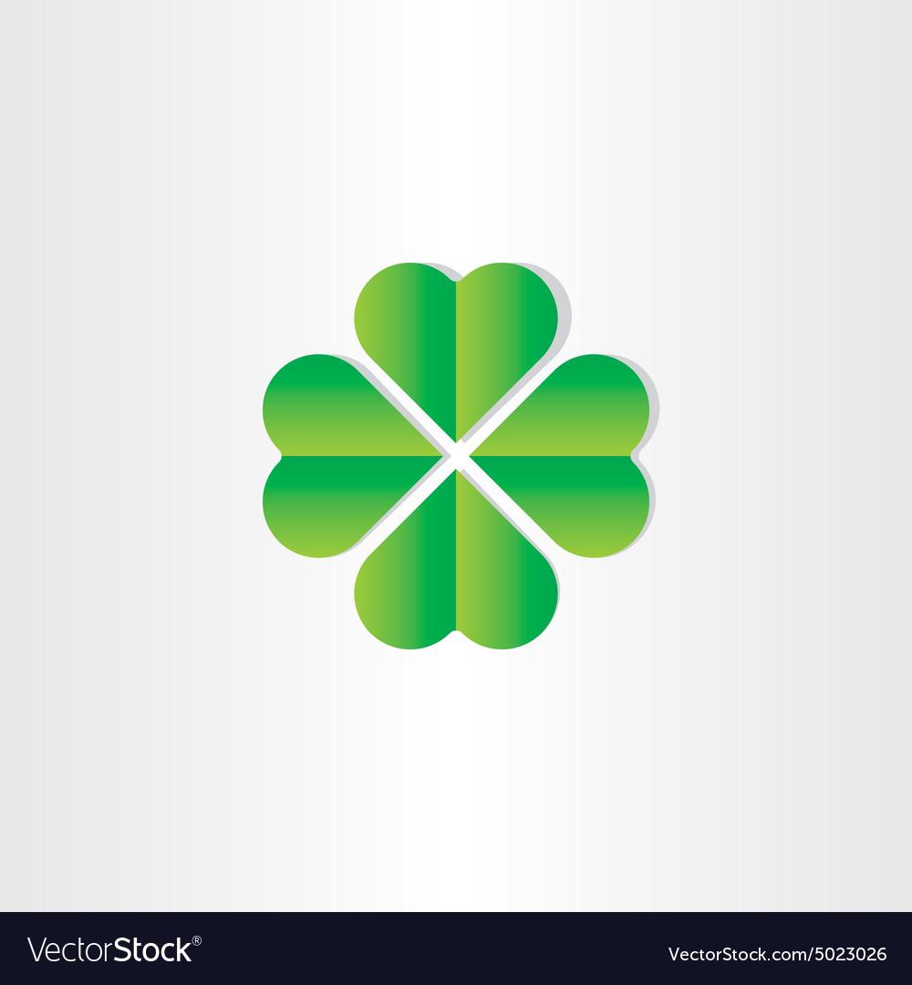 Green clover luck st patrick symbol vector image