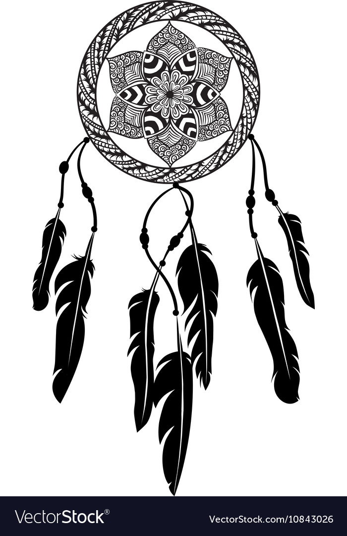 line art of a mandala dreamcatcher royalty free vector image rh vectorstock com dreamcatcher victor idaho eclipse dream catcher vector