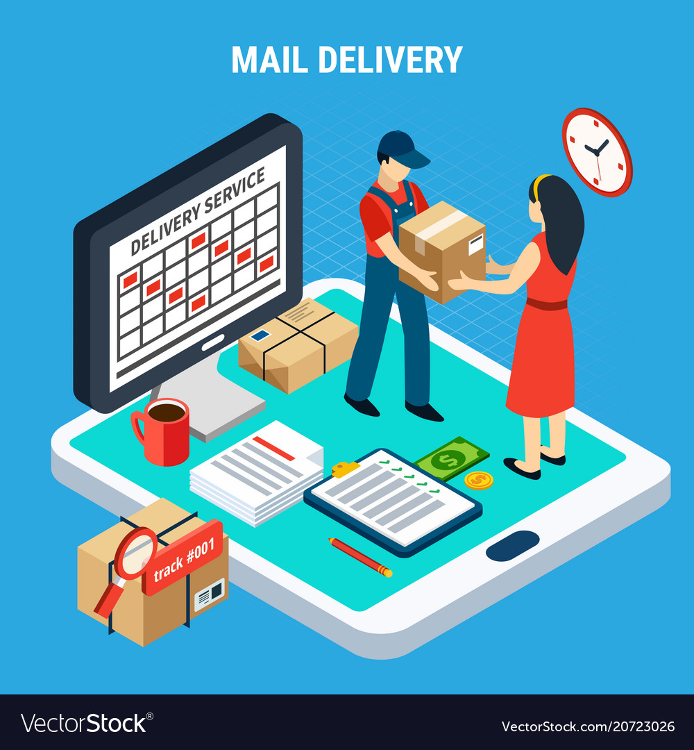 Mail isometric isolated composition