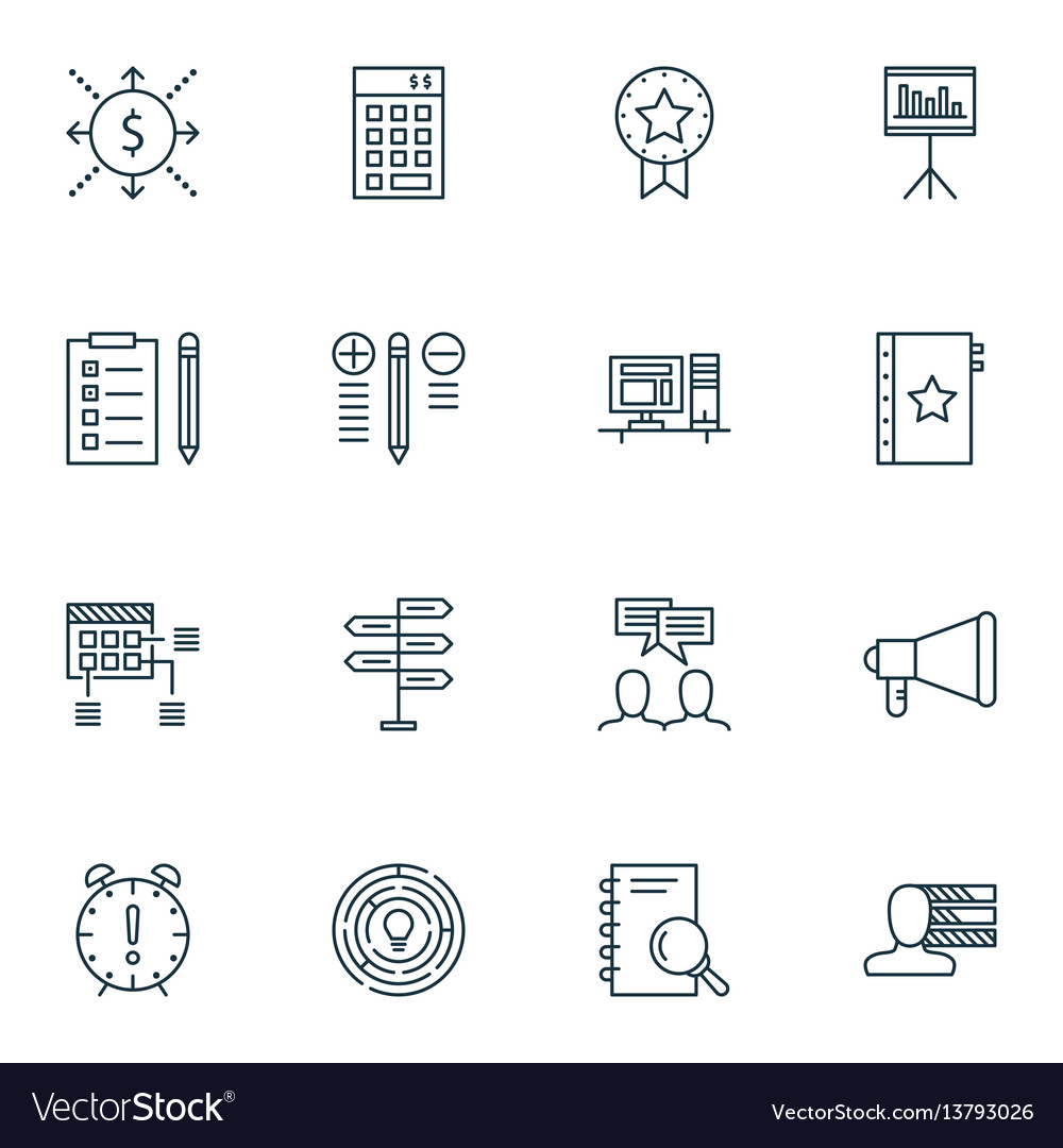 Set of 16 project management icons includes