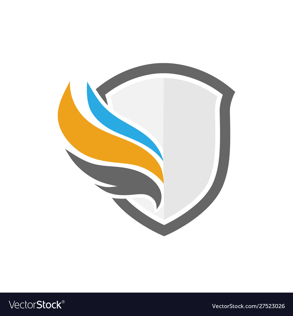 Shield and wings color logo