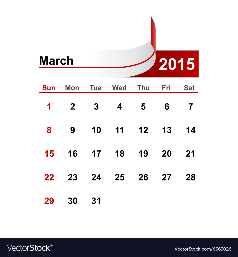Simple calendar 2015 year march month
