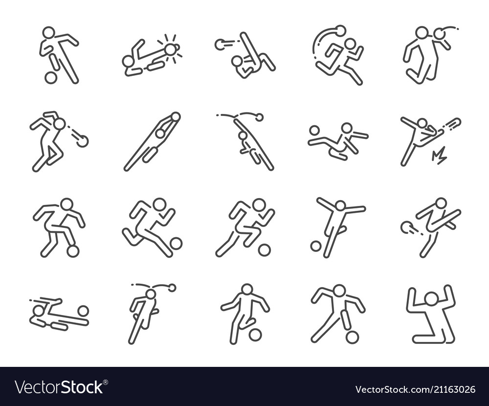Soccer in actions line icon set