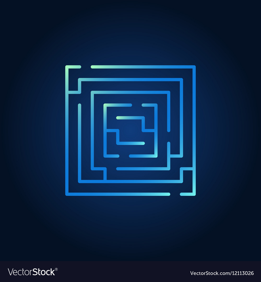 Square labyrinth blue icon vector image