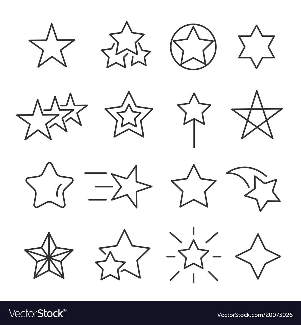 Stars line icon set vector image
