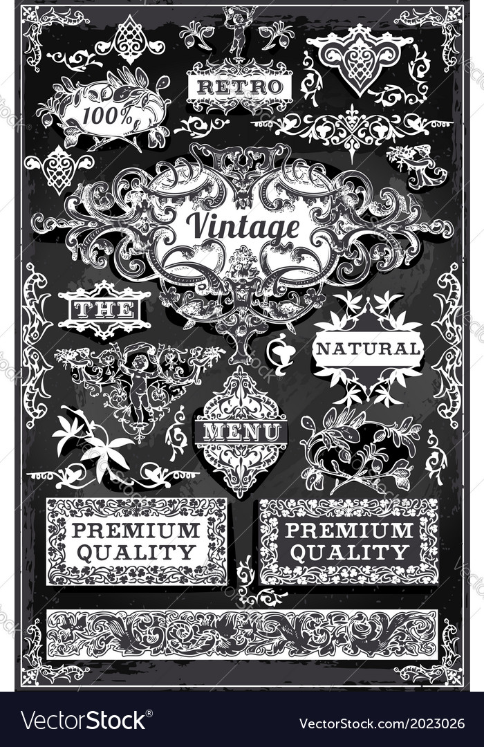 Vintage Hand Drawn Banners and Labels on