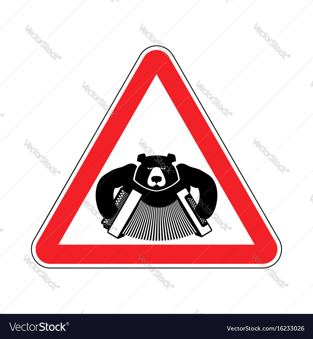 Warning russia bear with accordion with red