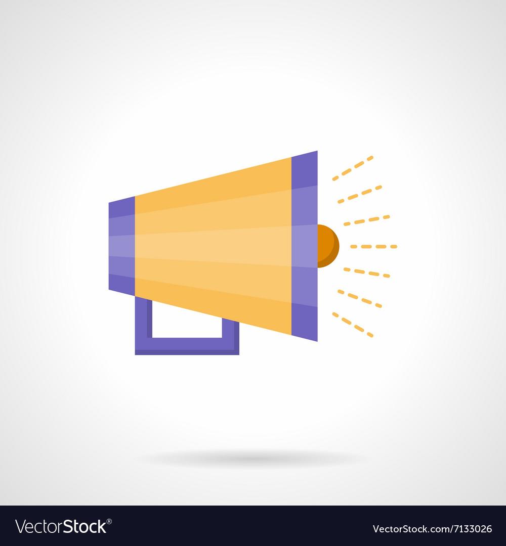 Yellow loudspeaker flat color icon