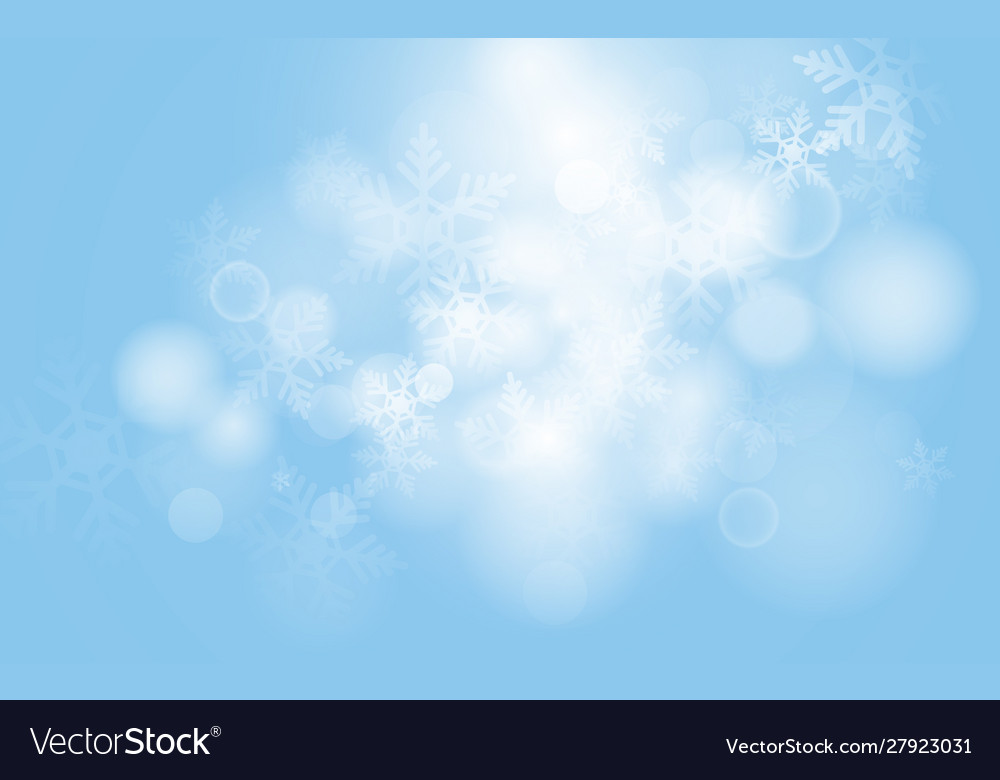 Blue christmas snowflakes with abstract bokeh