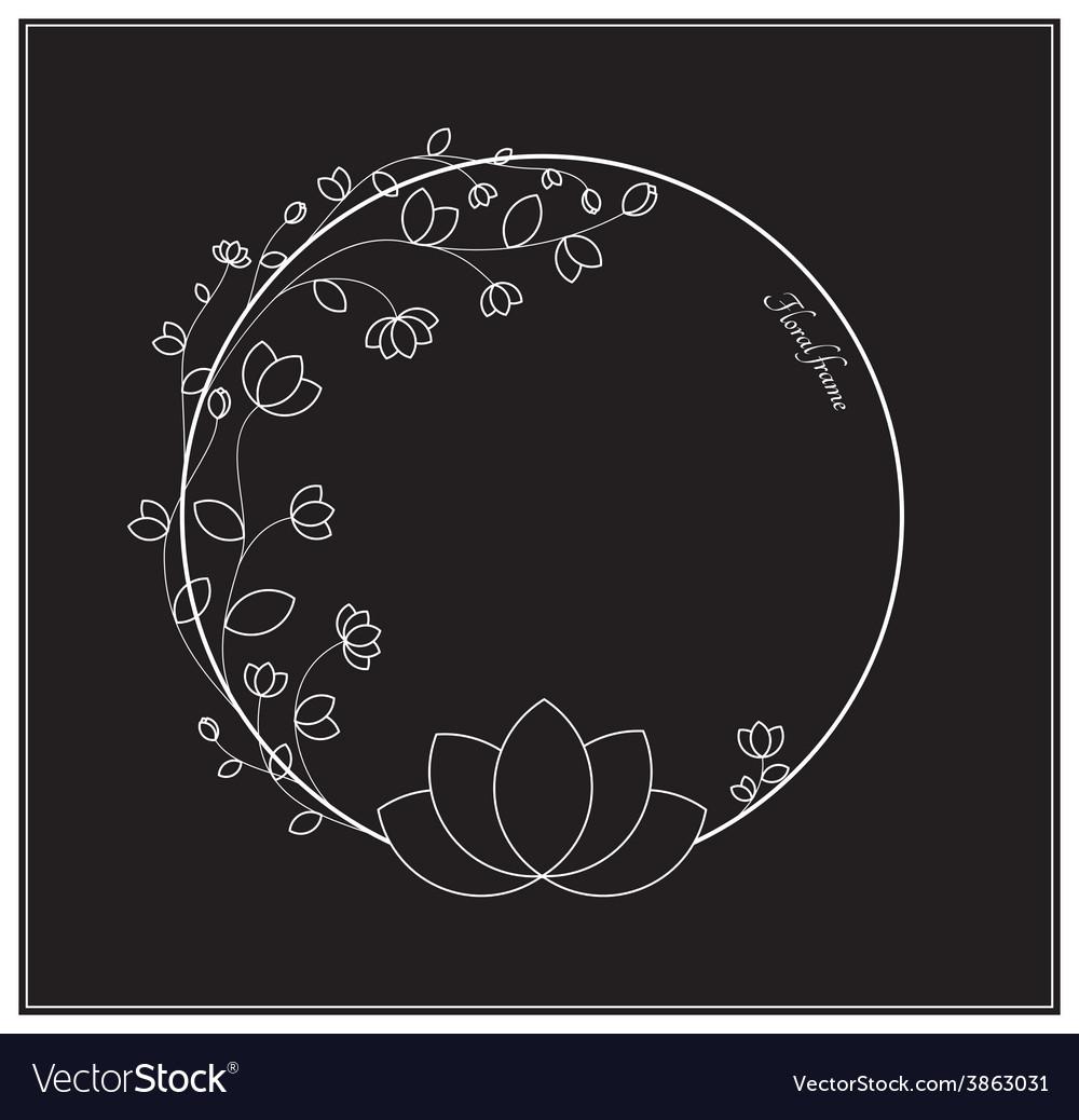 Elegant black and white floral frame