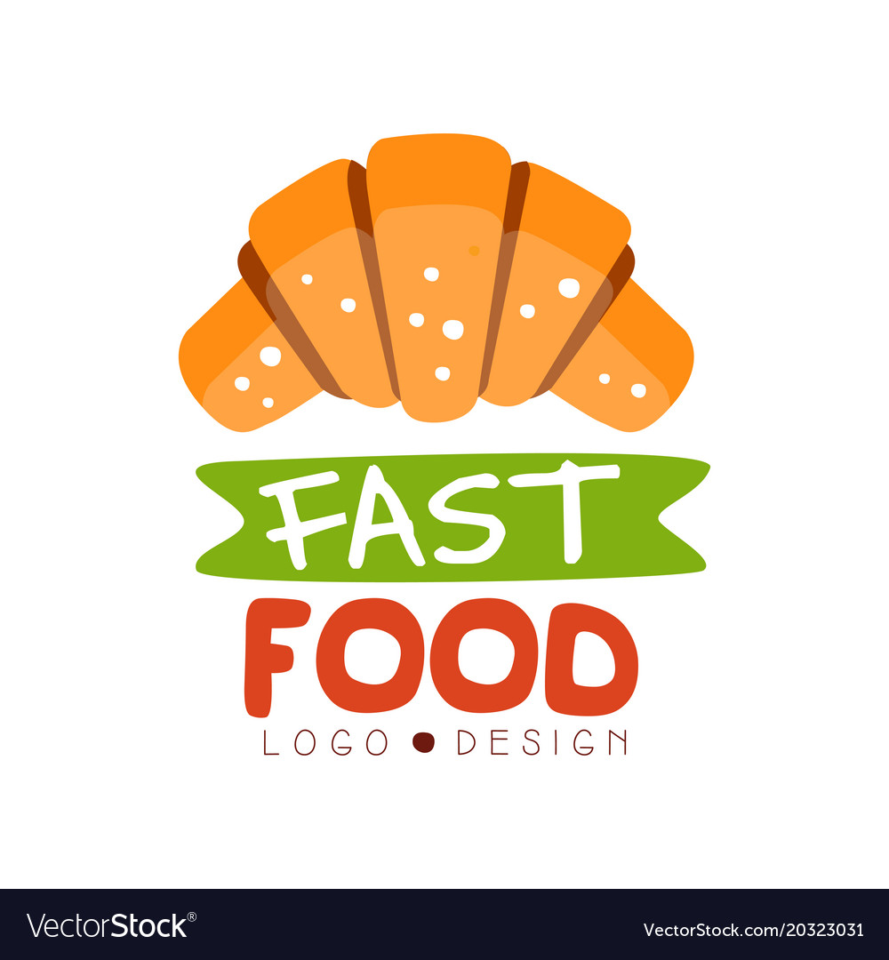 Fast food logo design badge with croissant sign