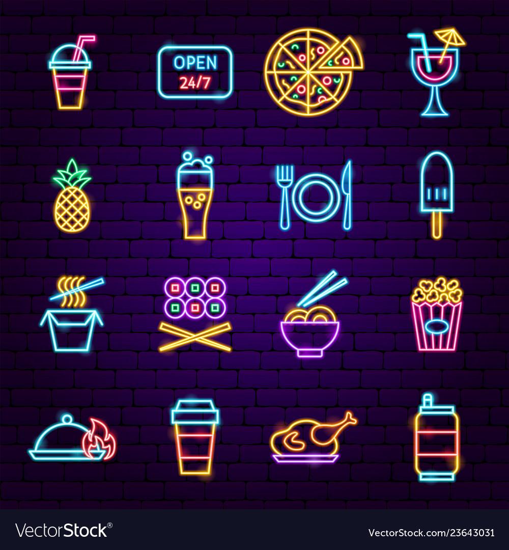 Fast food menu neon icons