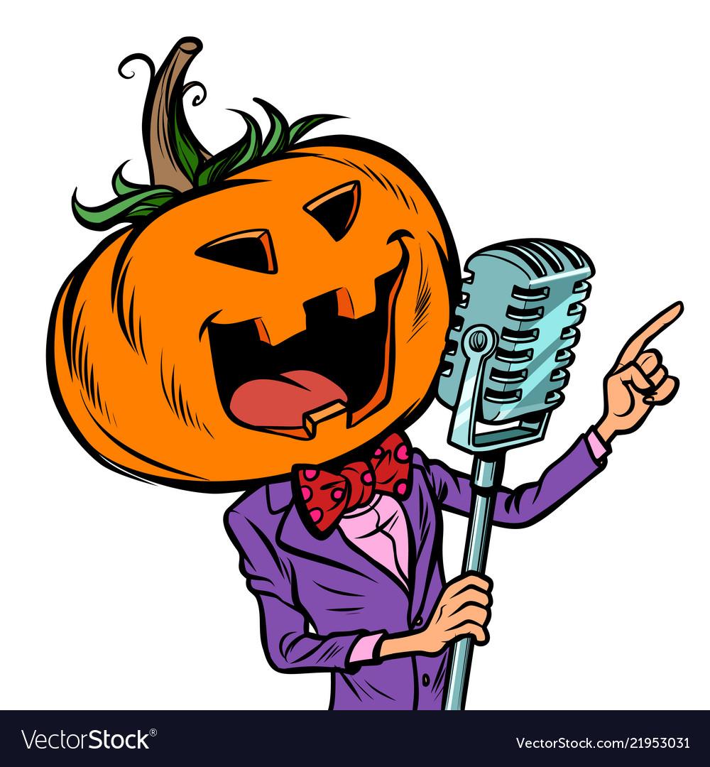 Halloween pumpkin character singer isolate on