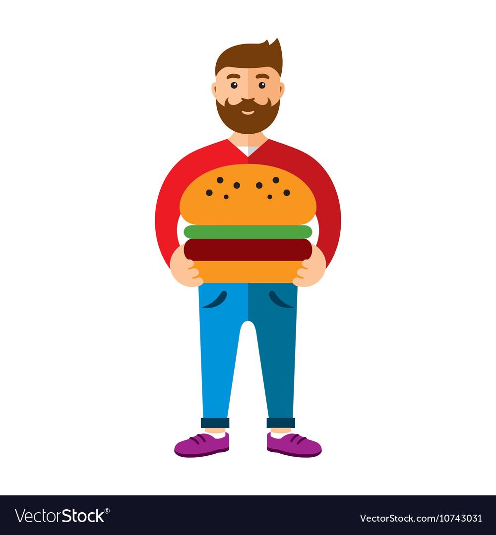 Happy hipster man with hamburger Flat