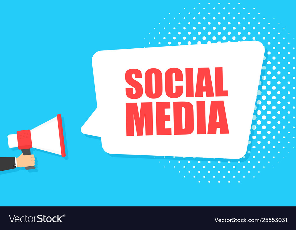 Male hand holding megaphone with social media