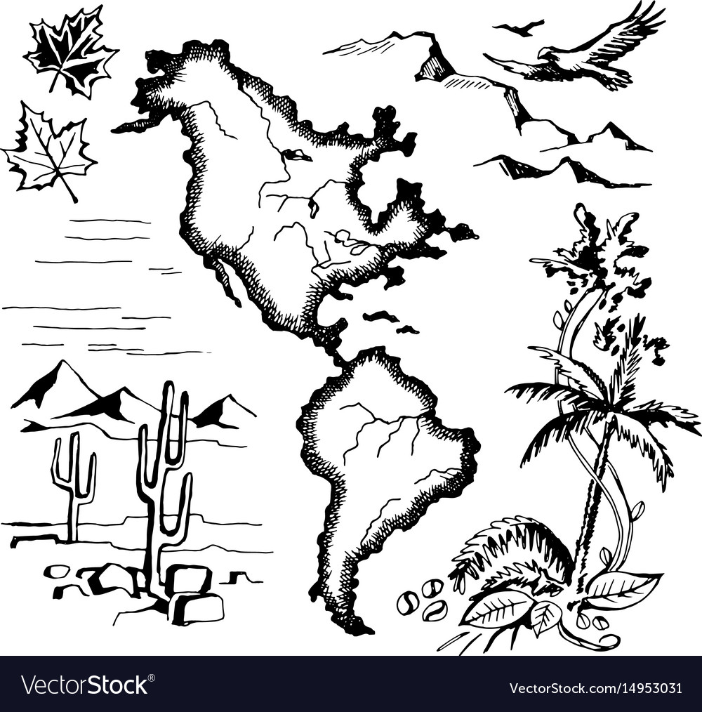 Map north and south america