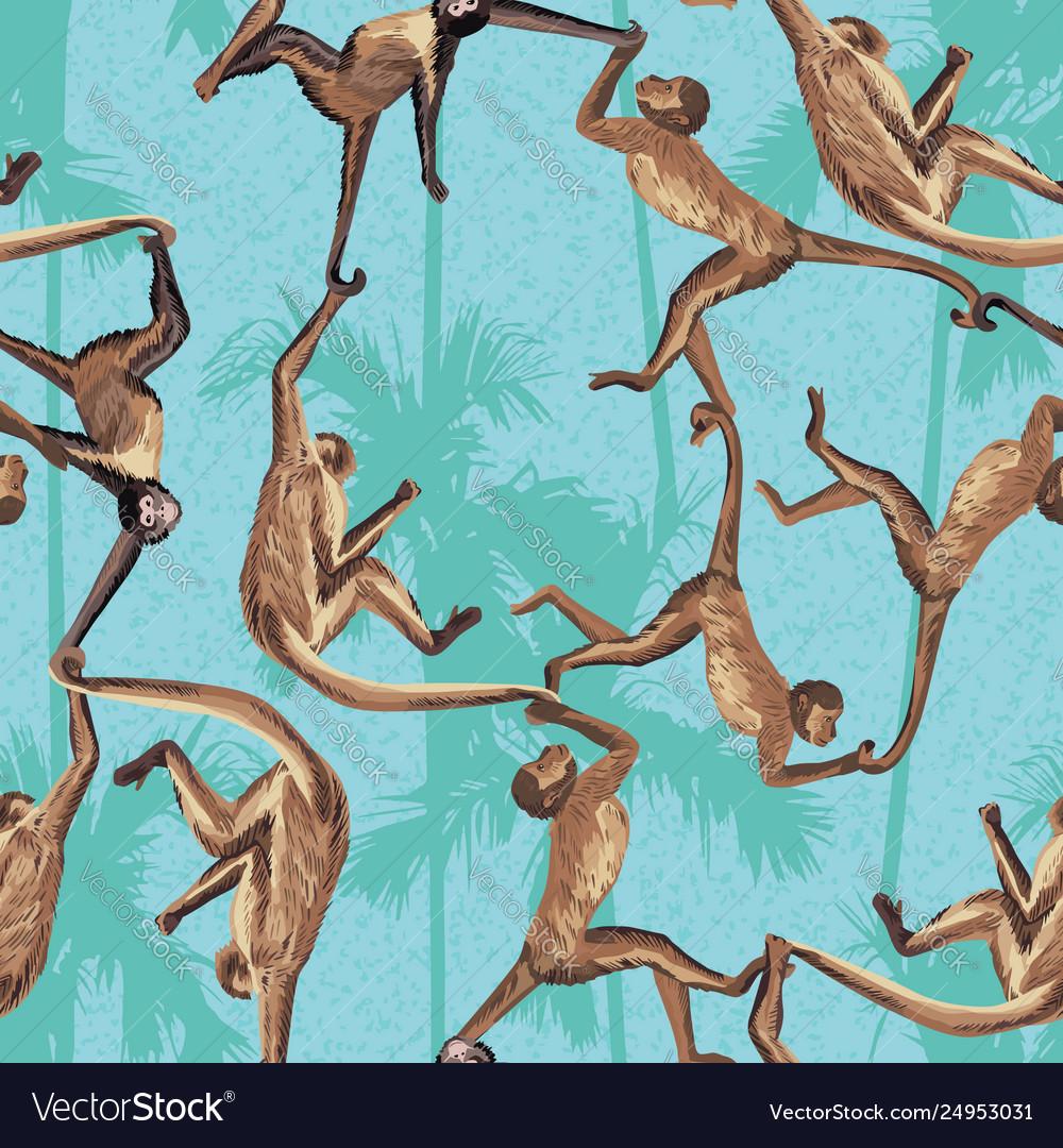 Monkey jungle seamless pattern