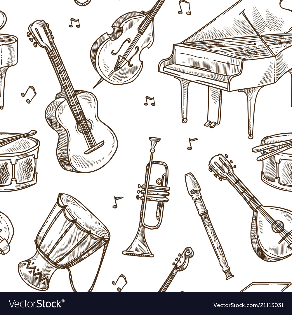 Musical instruments pattern background