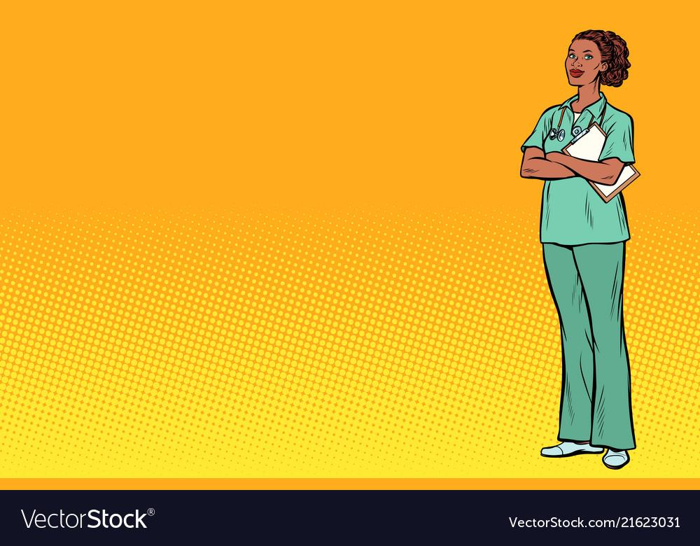 Pop art african nurse medicine and health