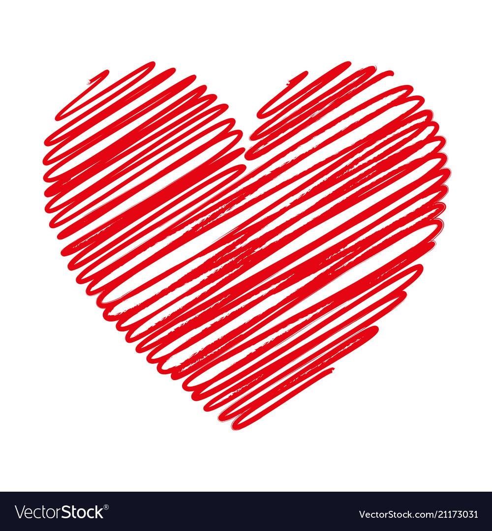 Red heart scribble with lines texture on white