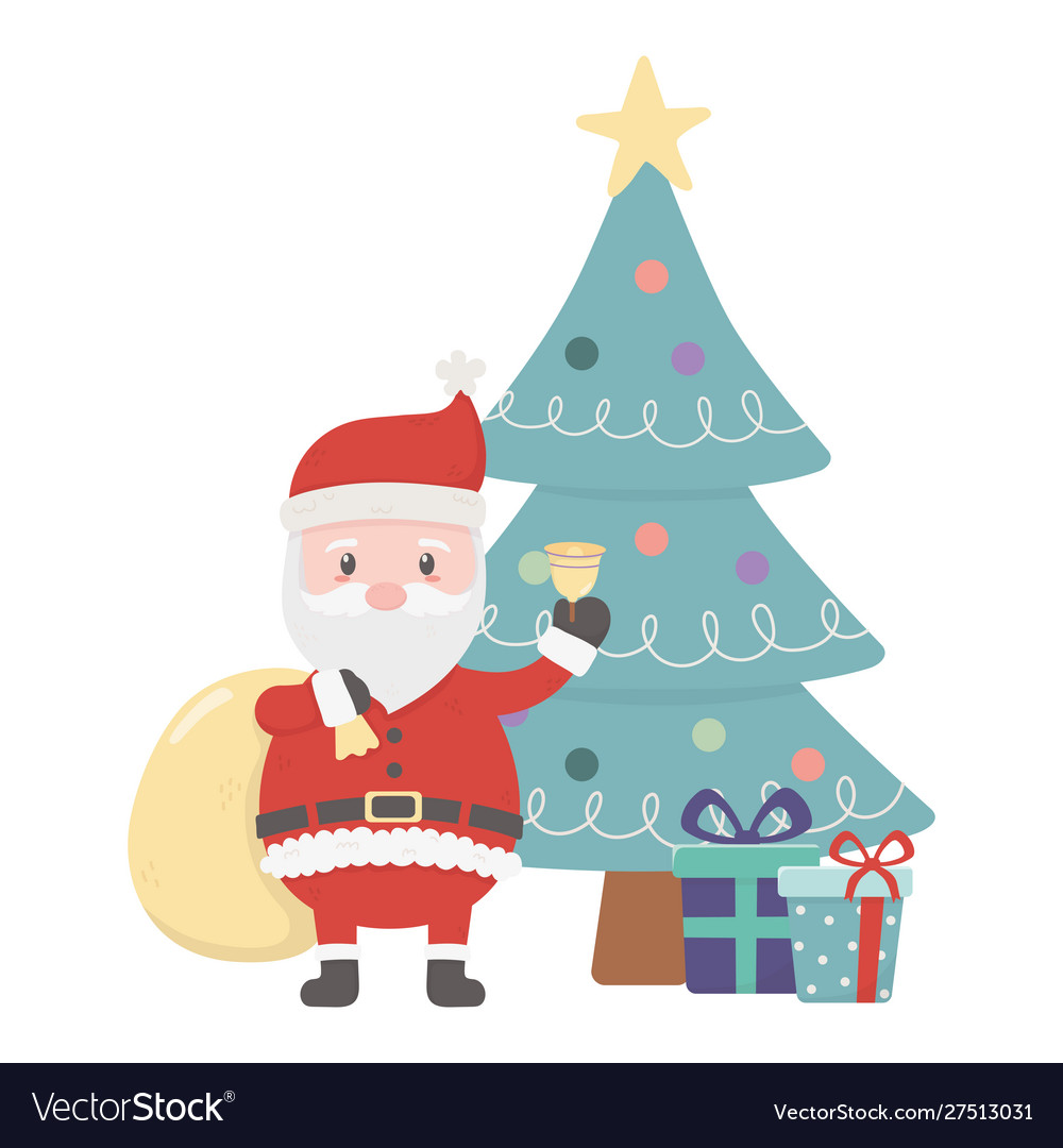 Santa with bag bell tree and gifts celebration