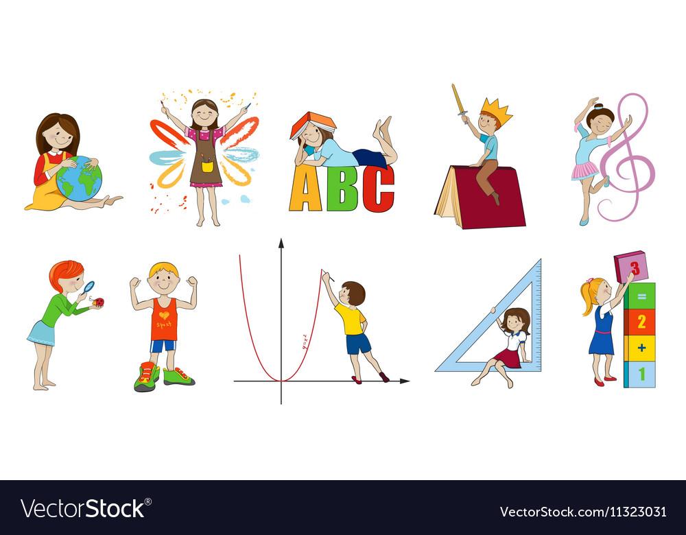 school subjects cartoon royalty free vector image