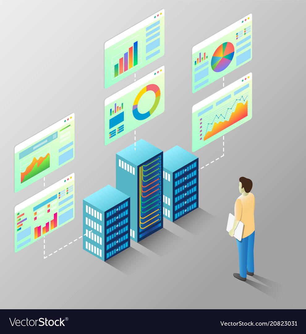 Server statistics isometric flow chart