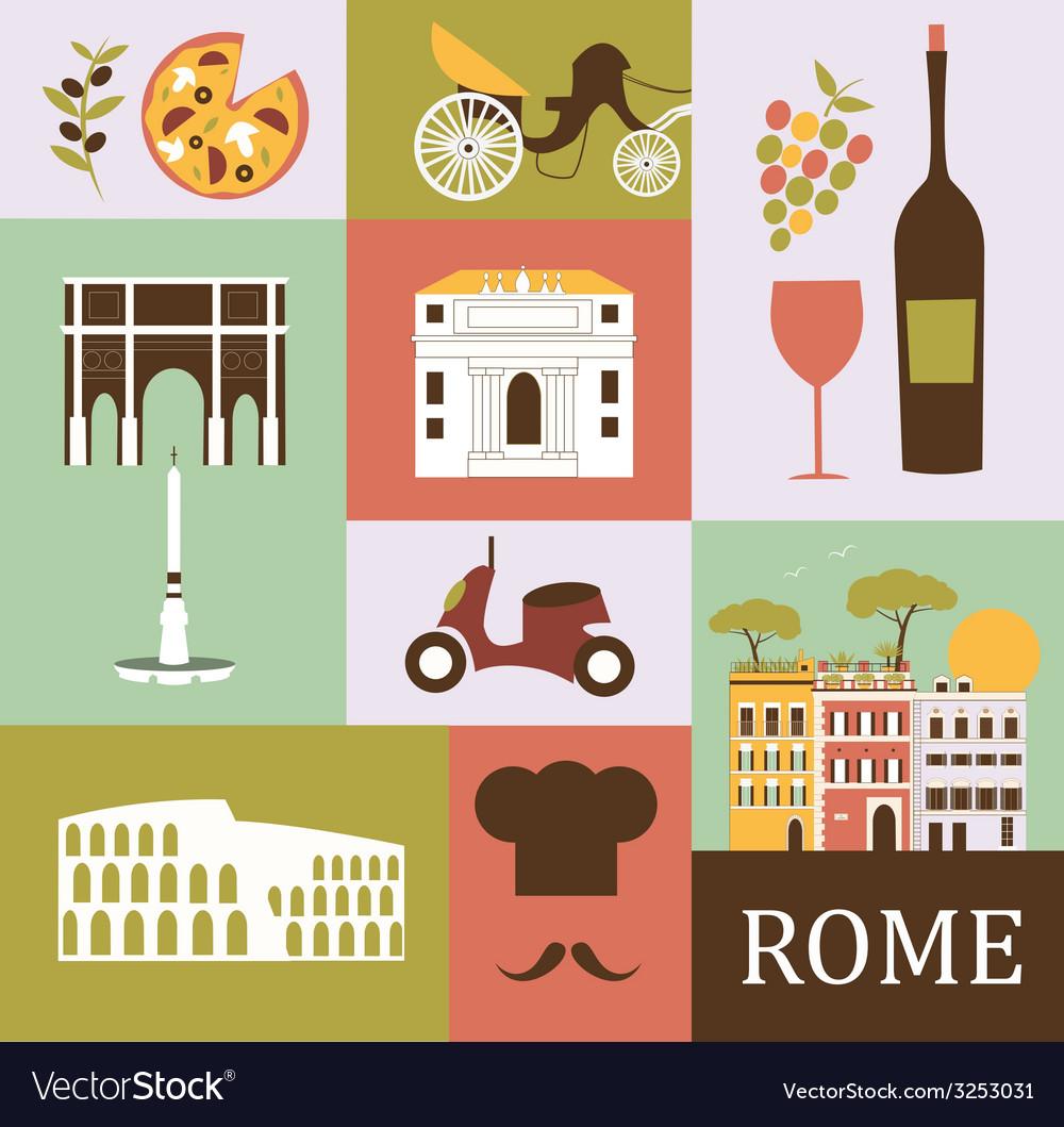 Symbols Of Rome Royalty Free Vector Image Vectorstock