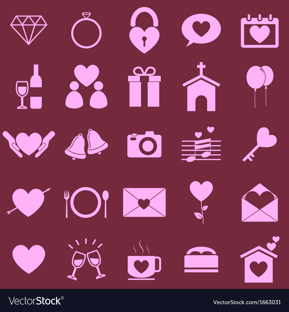 Wedding color icons on pink background
