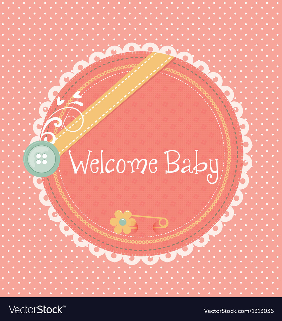 Baby announcement card welcome baby vector image