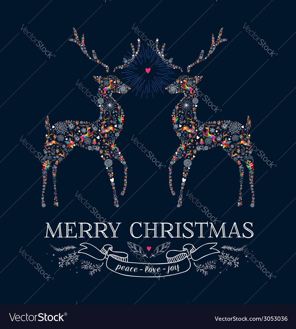 Christmas love reindeer vintage greeting card