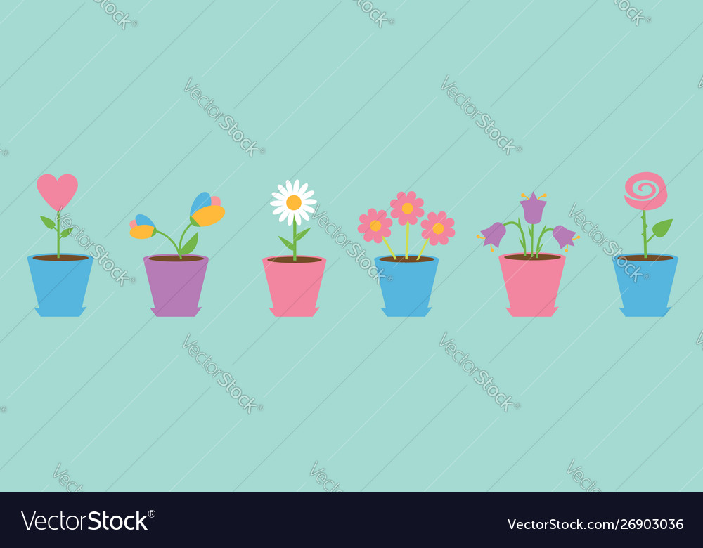 Flower pot set line daisy chamomile tulip rose
