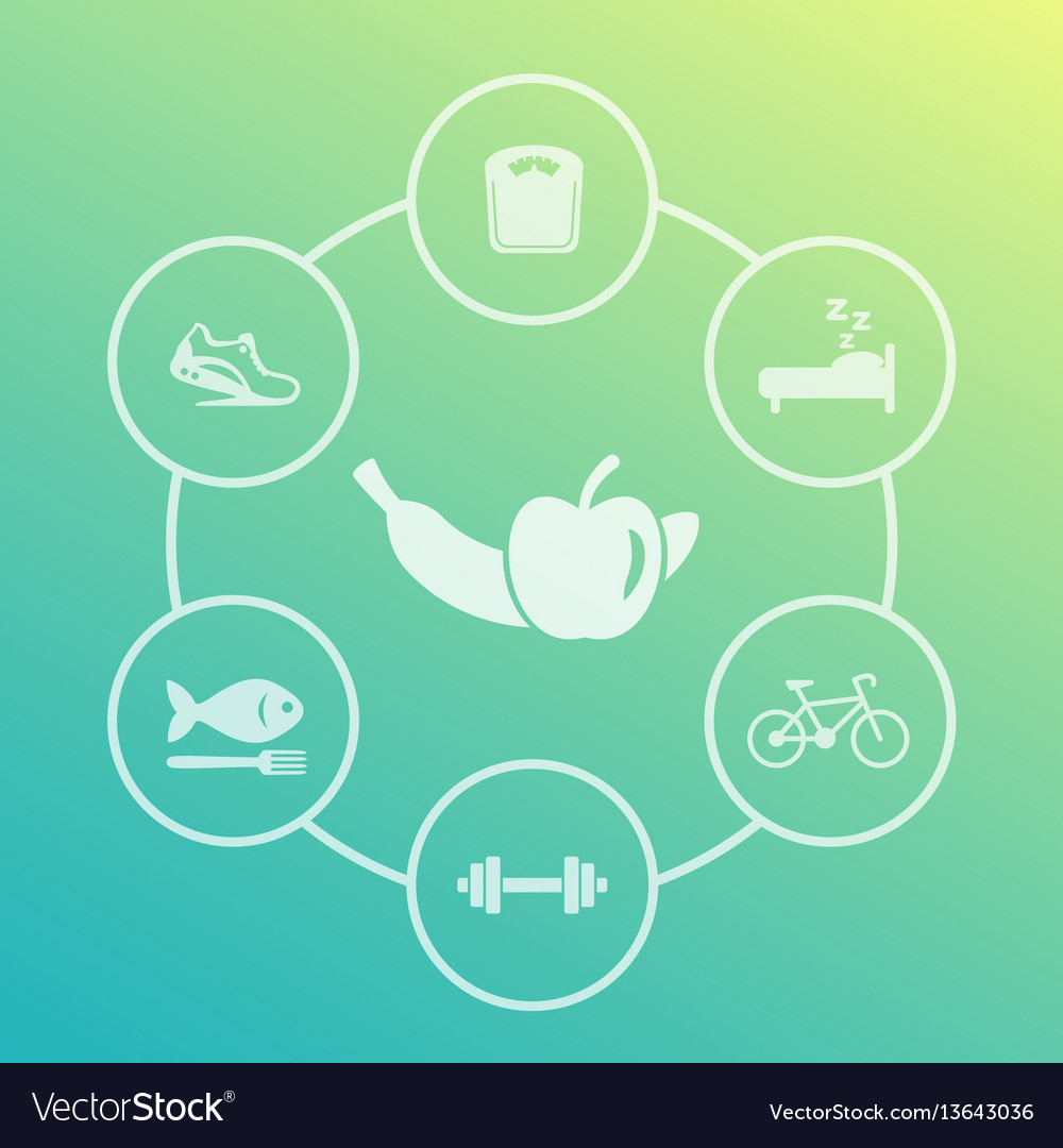 Healthy lifestyle icons set diet sleeping fitness
