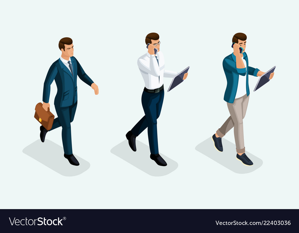 Isometric businessmen are coming forward front vi