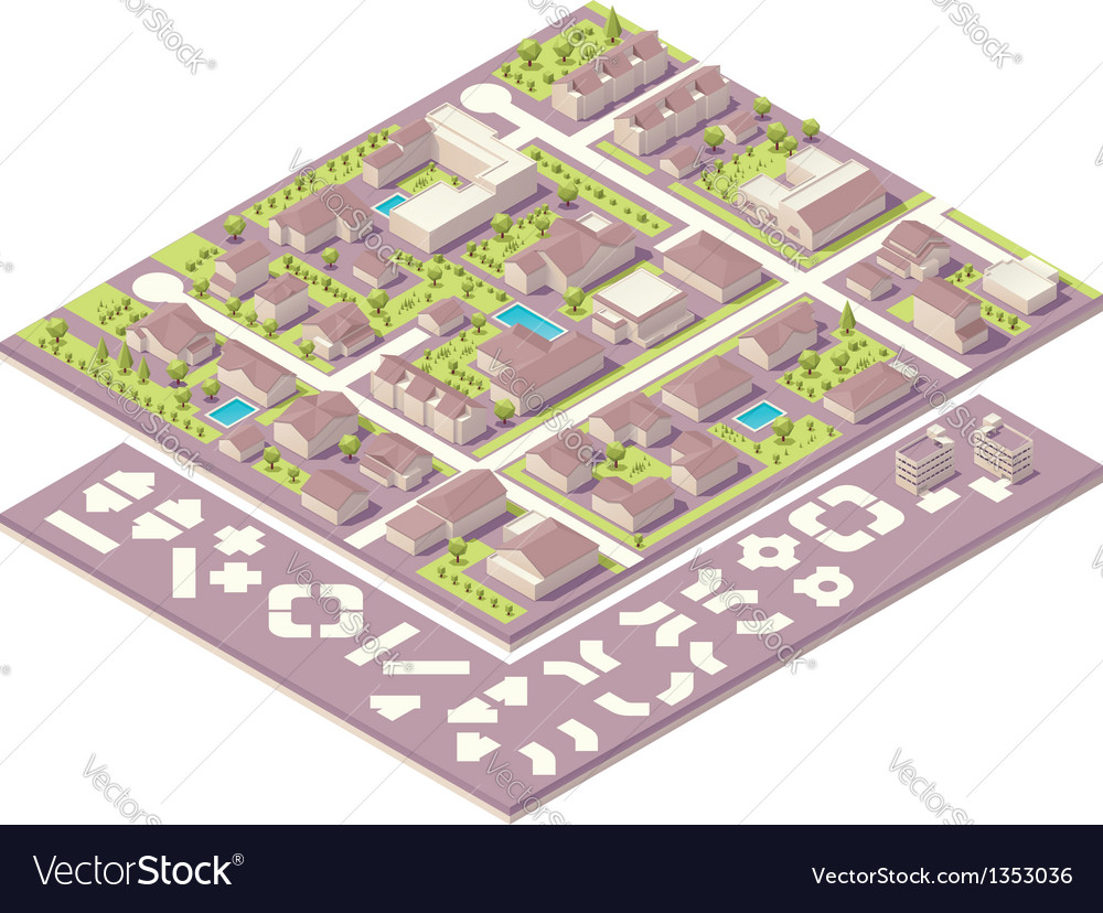 Isometric small town map creation kit on document creation, newsletter creation, web site creation, element creation,