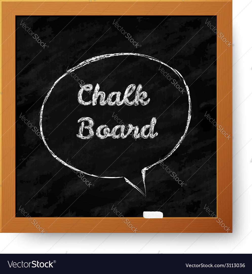 Realistic chalkboard with hand-drawn speech bubble