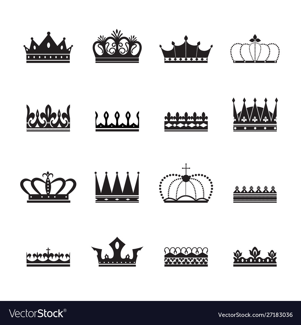 Royal crown insignia elements set silhouettes