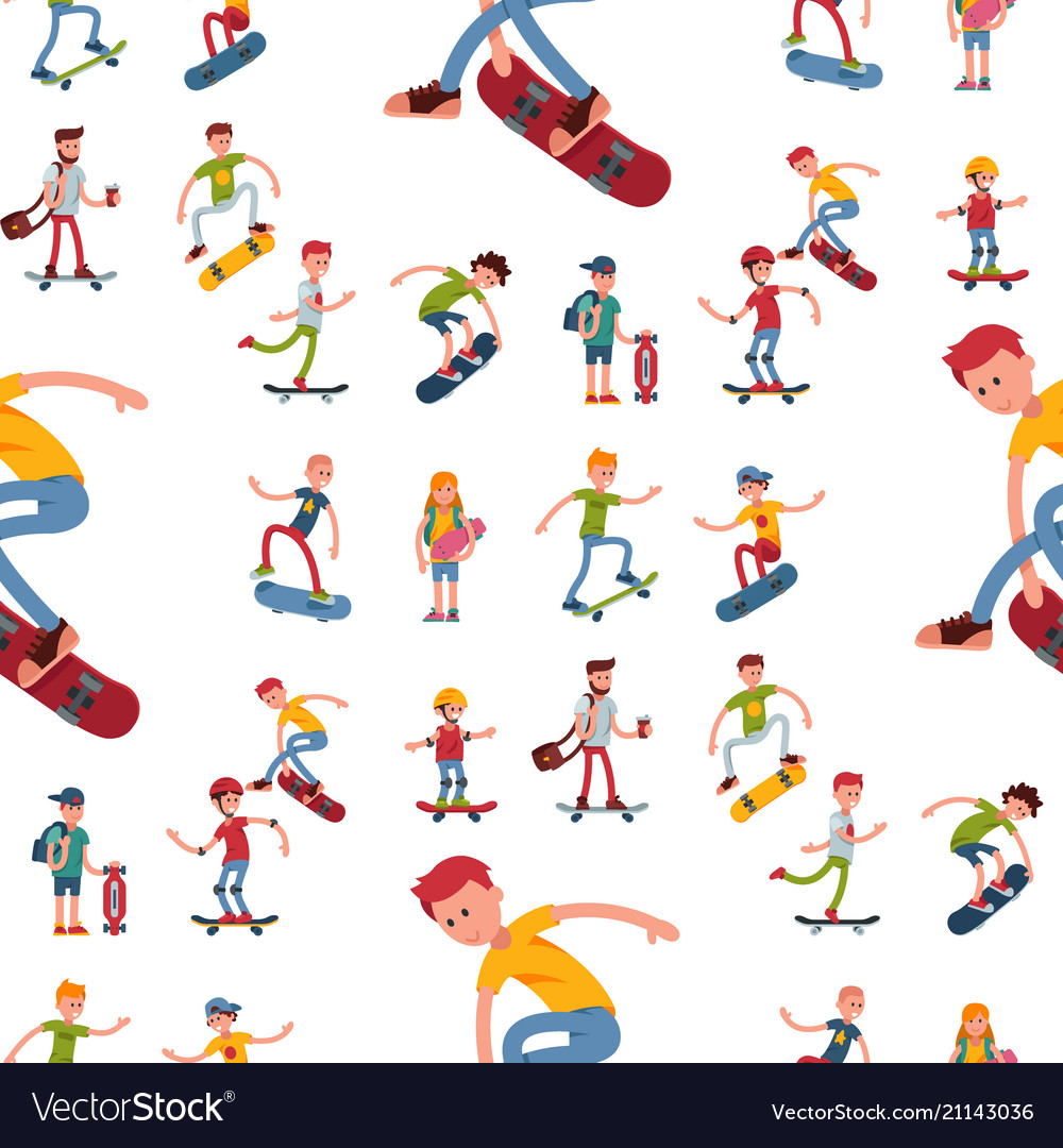 Skateboarder active people seamless pattern