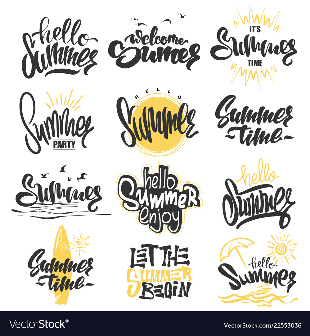 Summer hand drawn lettering elements set
