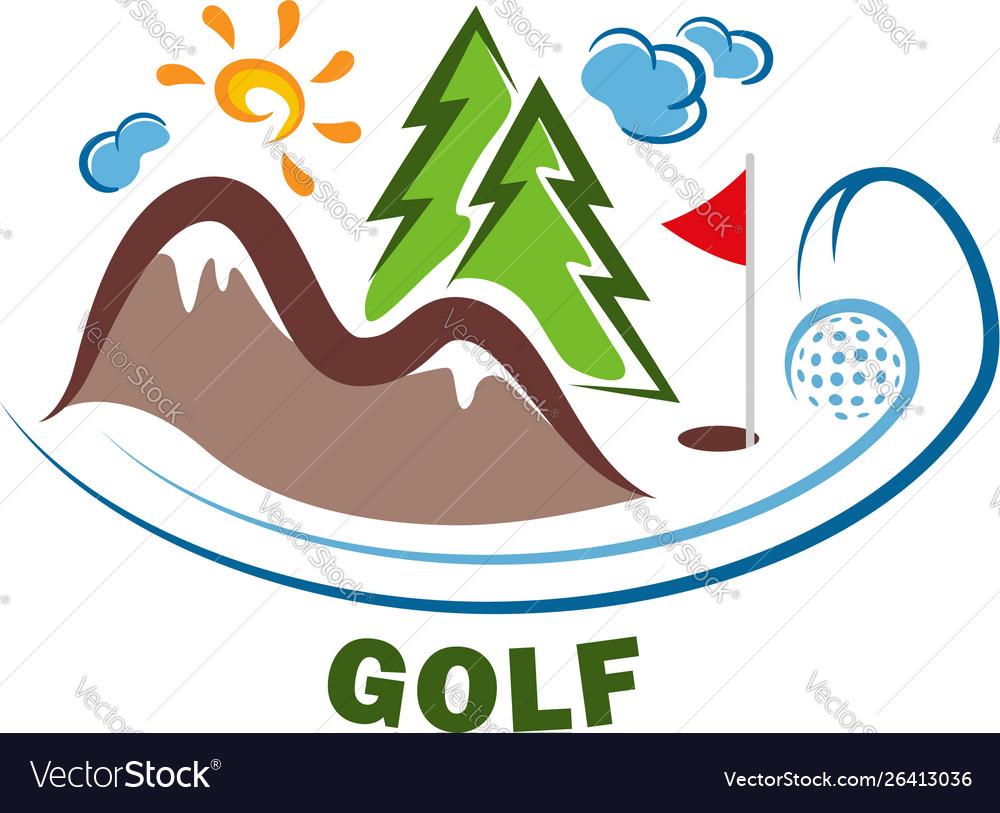 Template golf logo funny cartoon colored logo