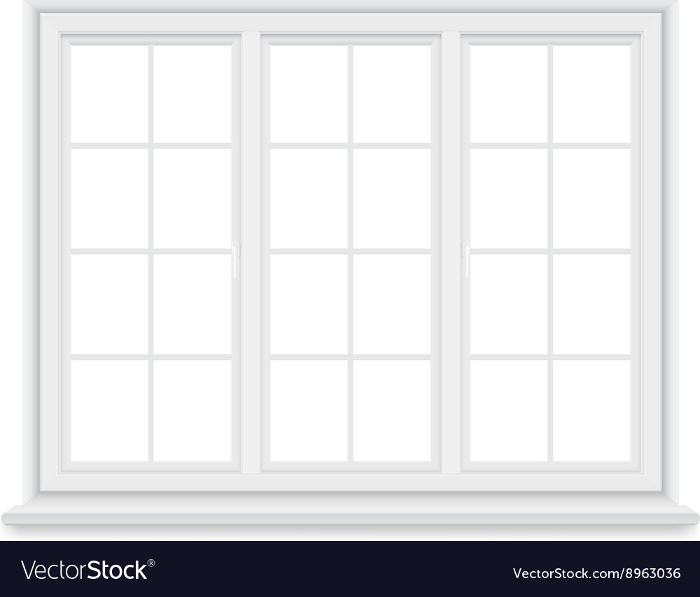 Traditional big white window isolated