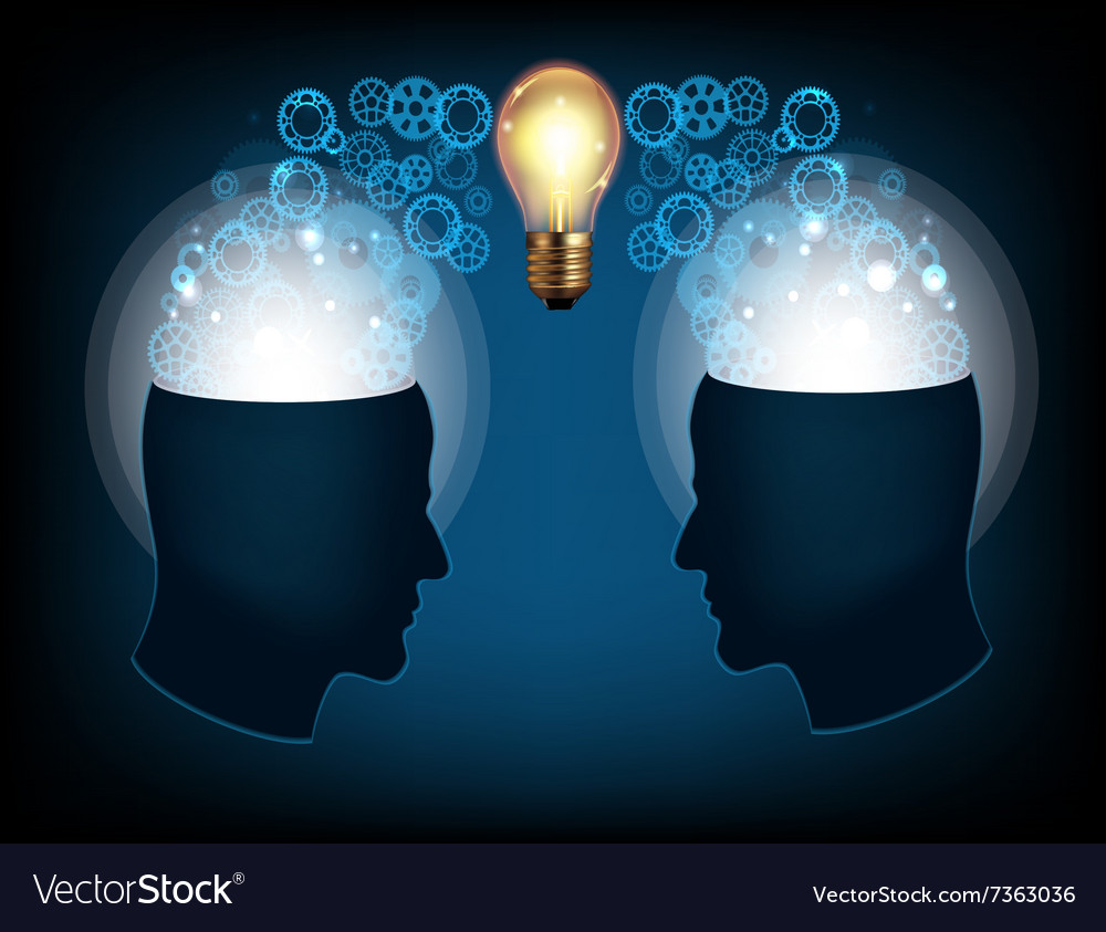 Two profile faces with light bulb vector image