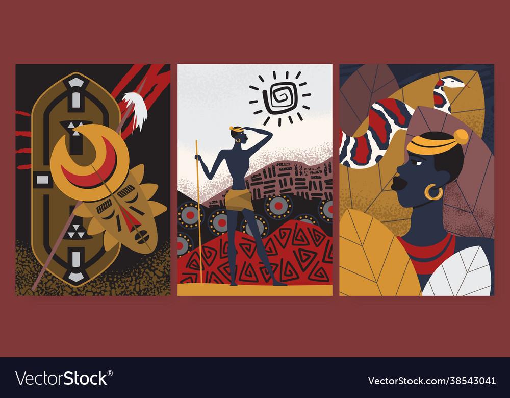 African tribe pattern wallpaper set aborigine