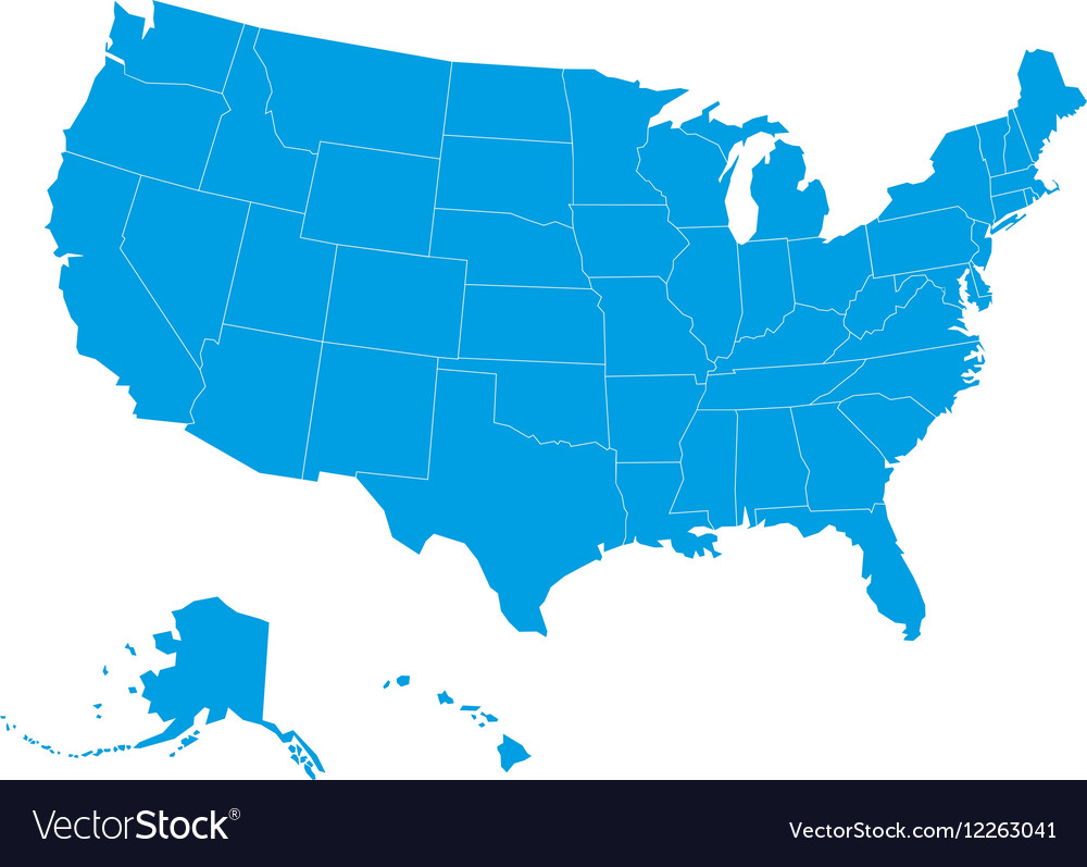 Blank map of USA in blue vector image