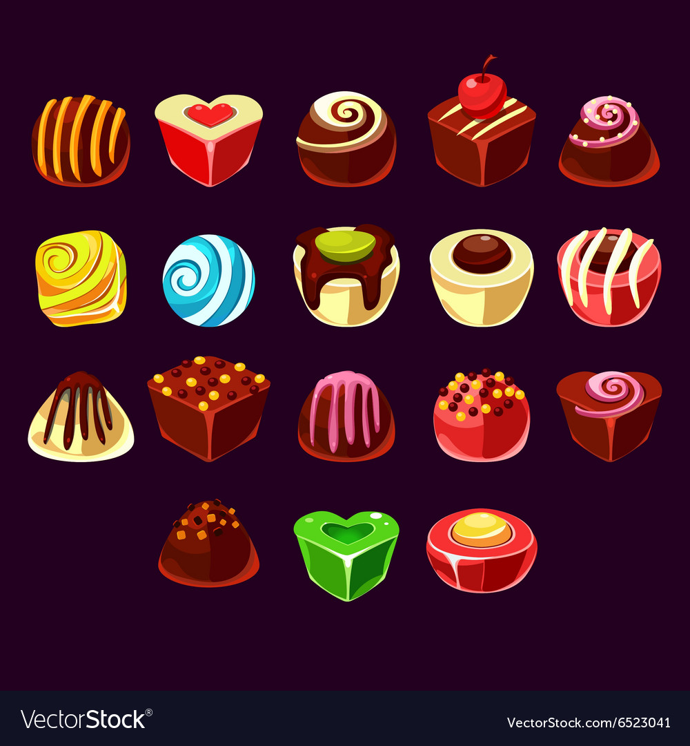 Candies cute sweet game elements vector image