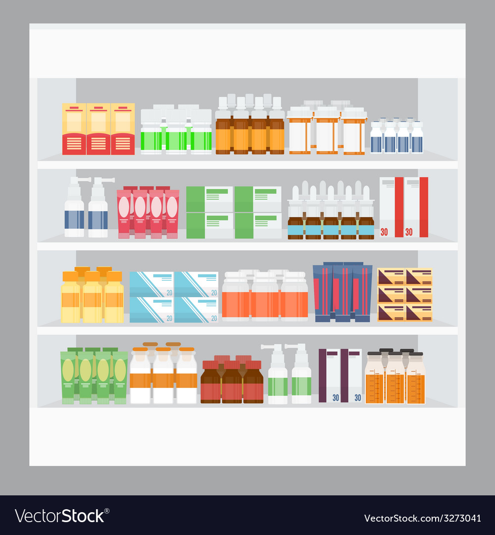 Cartoon Medicine in Pharmacy vector image