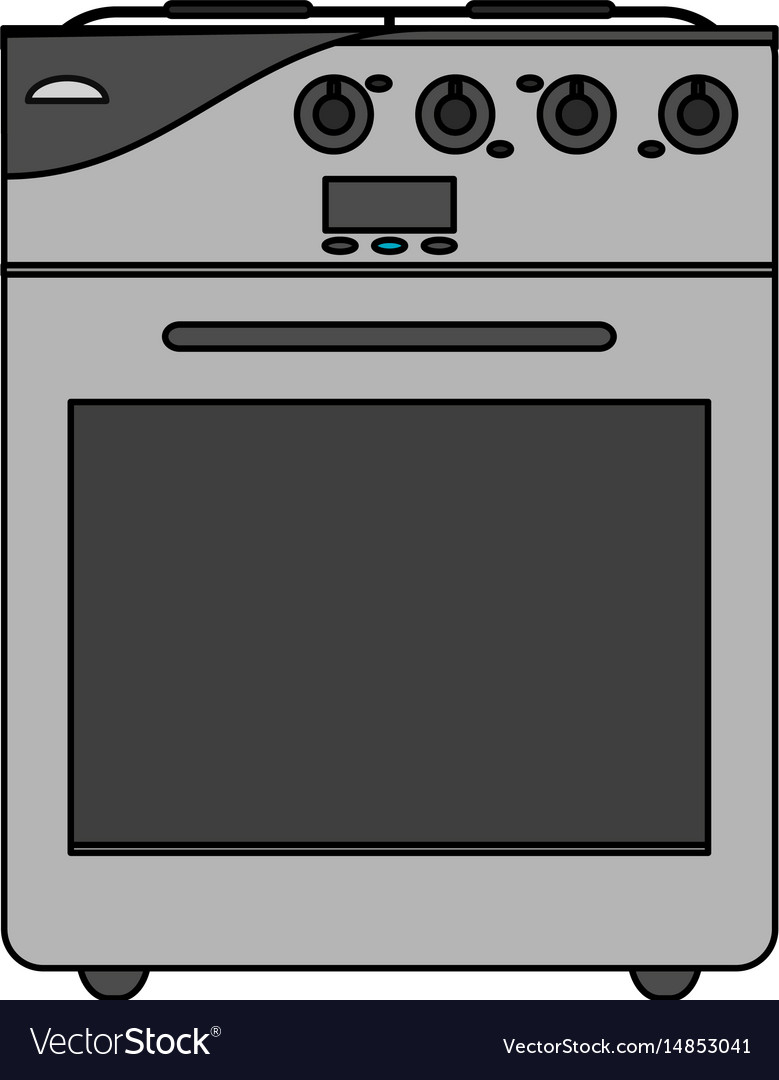 color image cartoon stove gas with oven royalty free vector