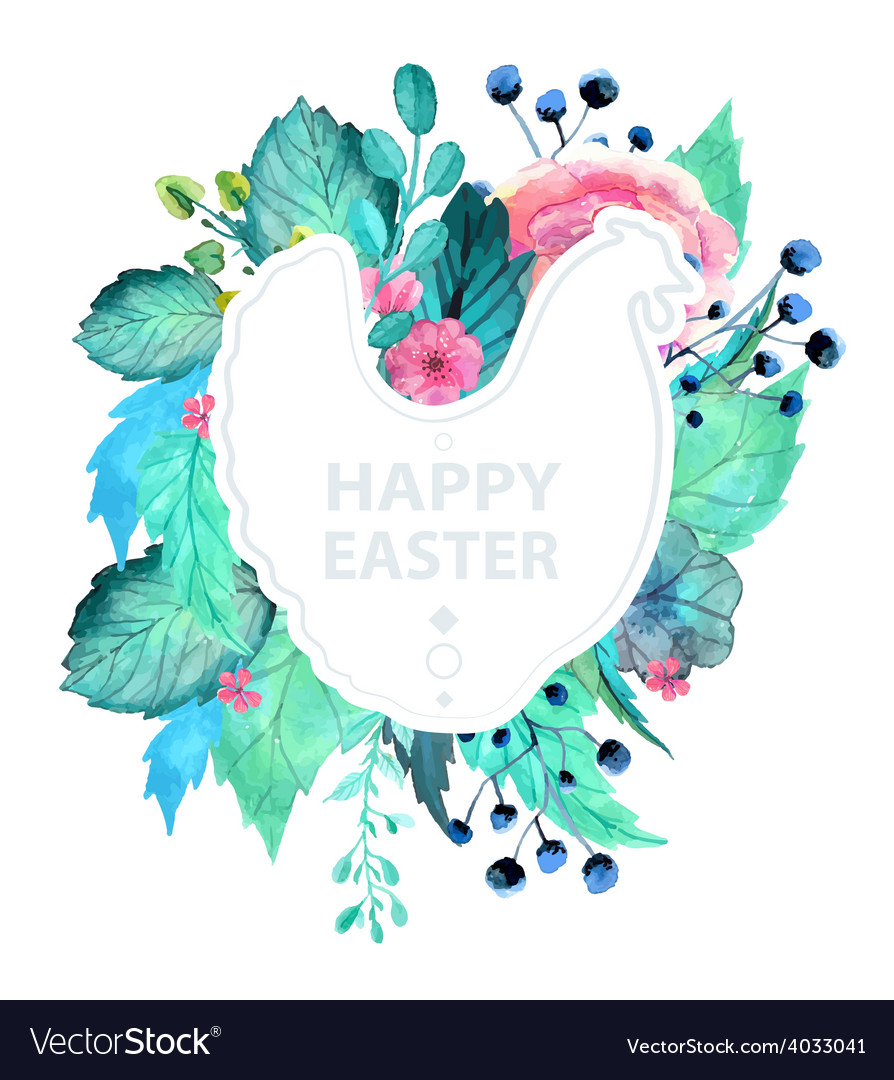 Easter watercolor natural with chicken sticker